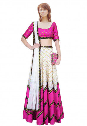 Color Blocked Dupion Silk Lehenga in Off White and Magenta