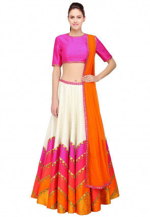 Color Blocked Dupion Silk Lehenga in Off White and Multicolor