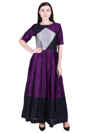 Color Blocked Dupion Silk Pleated Dress in Purple and Black