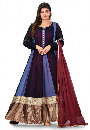 Color Blocked Georgette Abaya Style Suit in Blue