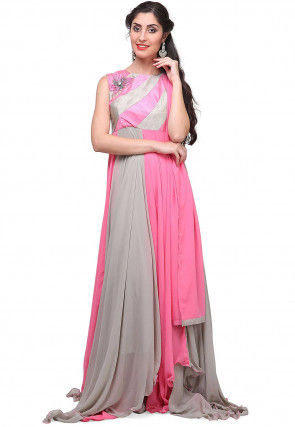 Color Blocked Georgette Asymmetric Gown in Grey and Pink