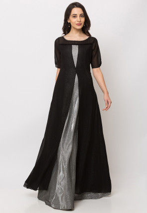 Color Blocked Georgette Gown in Black and Silver