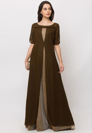 Color Blocked Georgette Gown in Olive Green and Golden