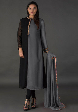 Color Blocked Georgette Straight Suit in Black and Grey
