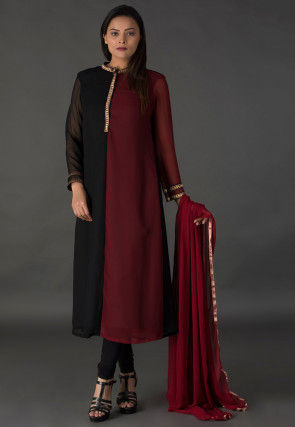 Color Blocked Georgette Straight Suit in Black and Maroon