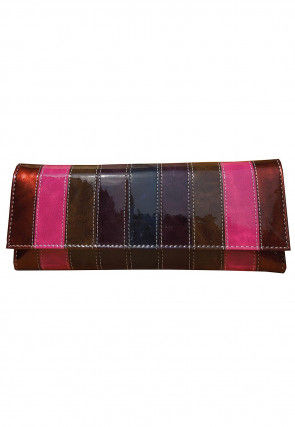 Color Blocked Leather Two Fold Wallet in Multicolor