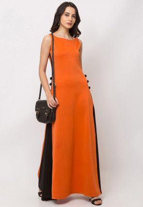 Color Blocked Lycra Maxi Dress in Orange and Black