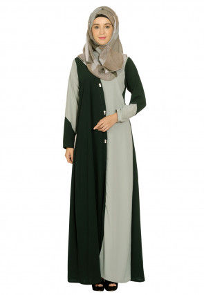 Color Blocked Monochromatic Nida Front Open Abaya in Green