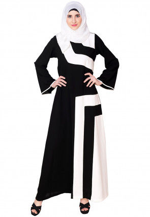 Color Blocked Nida Abaya in Black and Off White