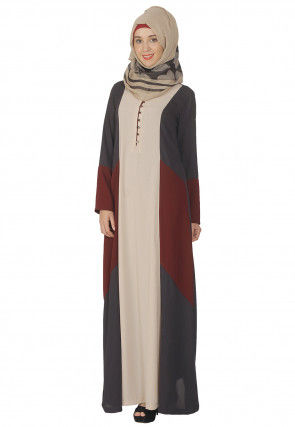 Color Blocked Nida Abaya in Multicolor