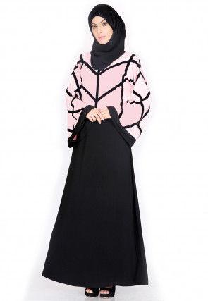 Color Blocked Nida Abaya in Pink and Black