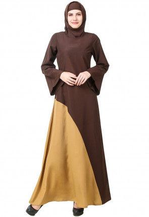 Color Blocked Nida Abaya with Jacket in Dark Brown and Beige