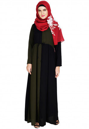 Color Blocked Nida Clinched Waist Abaya in Olive Green and Black