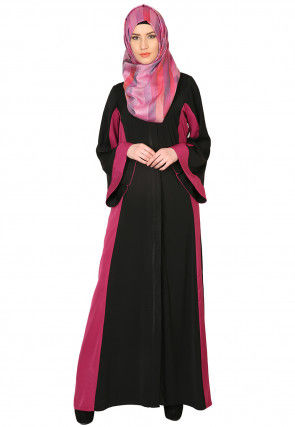 Color Blocked Nida Front Open Abaya in Black and Fuchsia