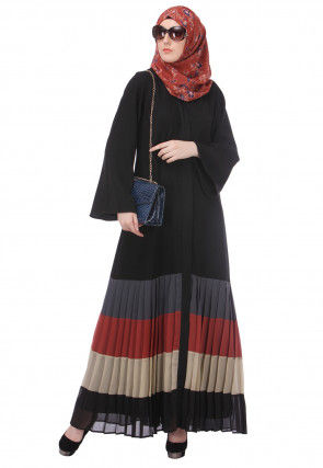 Color Blocked Nida Front Open Abaya in Black and Multicolor