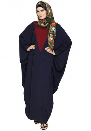 Color Blocked Nida Kaftan in Dark Blue