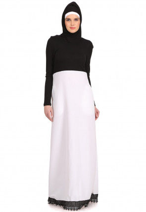 Color Blocked Polyester Abaya in Black and White