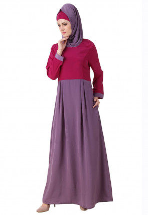 Color Blocked Polyester Abaya in Dusty Purple and Magenta