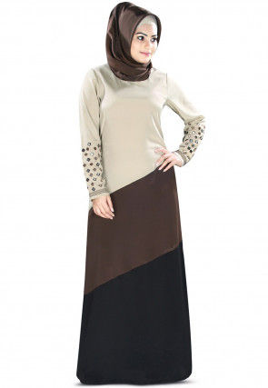Color Blocked Polyester Abaya in Multicolor