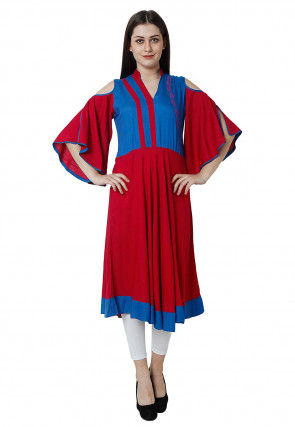 Color Blocked Rayon A Line Kurta in Red and Blue
