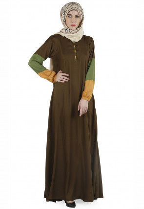 Color Blocked Rayon Abaya in Olive Green