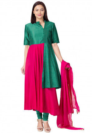 Color Blocked Rayon Anarkali Suit in Fuchsia and Teal Green