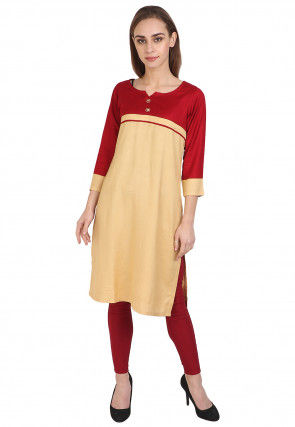Color Blocked Rayon Kurti in Beige and Red