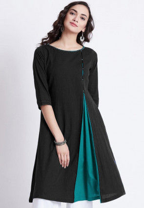 Color Blocked Rayon Kurti in Black and Turquoise
