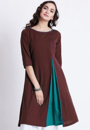 Color Blocked Rayon Kurti in Dark Brown and Turquoise