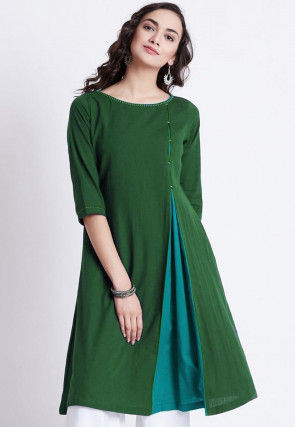 Color Blocked Rayon Kurti in Dark Green and Turquoise