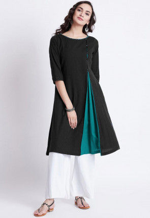 Color Blocked Rayon Kurti with Palazzo in Black and Turquoise
