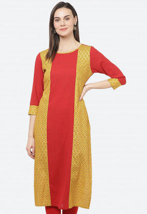Color Blocked Rayon Straight Kurta in Red and Mustard