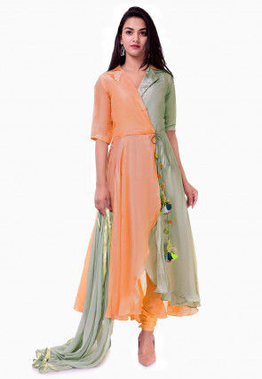 Color Blocked Uppada Silk A Line Suit in Light Peach and Grey