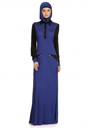 Color Blocked Viscose Abaya in Navy Blue