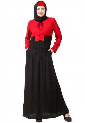 Color Blocked Viscose Rayon Abaya in Black and Red