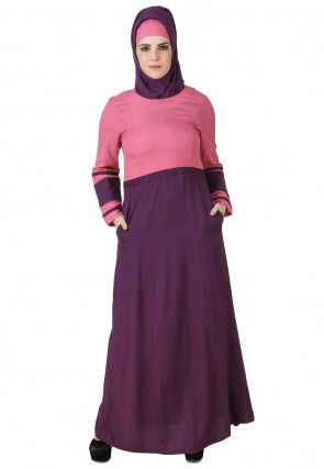 Color Blocked Viscose Rayon Abaya in Pink and Purple