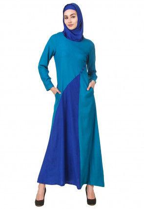 Color Blocked Viscose Rayon Abaya in Teal Blue and Royal Blue