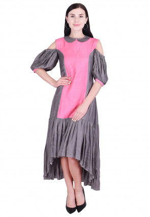 Color Blocked Art Silk Asymmetric Tunic in Pink and Grey