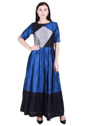 Color Blocked Dupion Silk Pleated Dress in Blue and Black