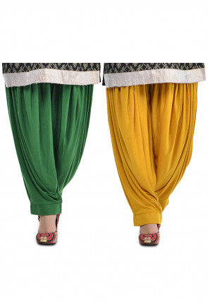 Combo Lycra Patiala in Green and Mustard