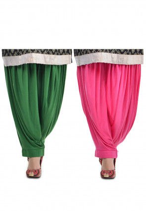 Combo Lycra Patiala in Green and Pink