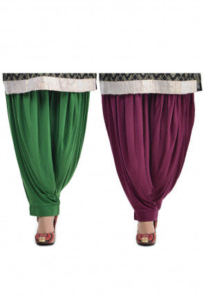 Combo Lycra Patiala in Green and Wine