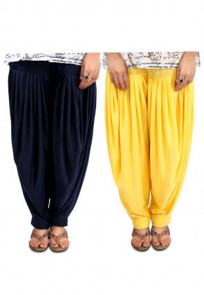 Combo Lycra Patiala in Navy Blue and Yellow