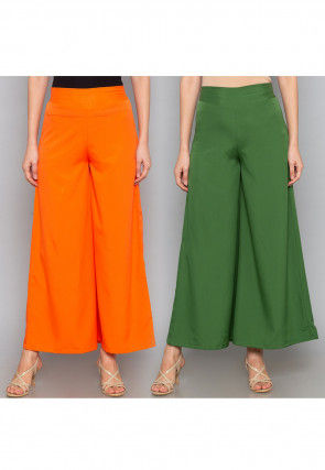 Combo of Solid Color Crepe Palazzo in Orange and Green