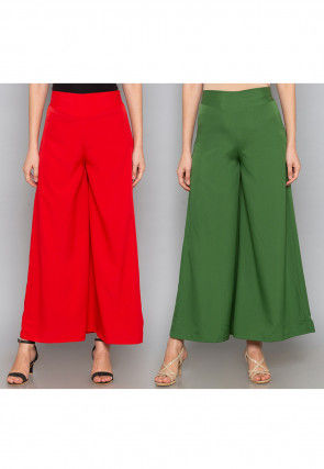 Combo of Solid Color Crepe Palazzo in Red and Green
