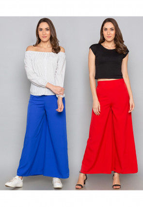 Combo of Solid Color Crepe Palazzo in Royal Blue and Red