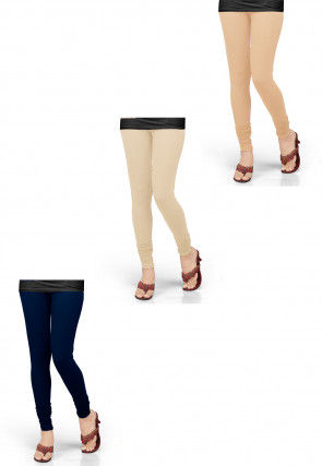 Combo of Solid Color Lycra Leggings in Beige and Navy Blue