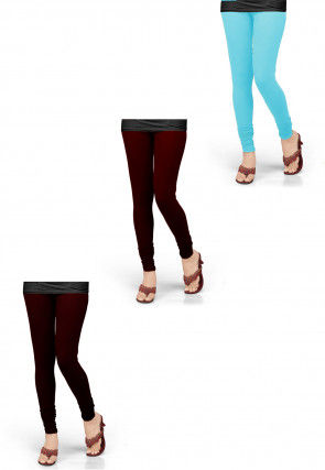 Combo of Solid Color Lycra Leggings in Blue and Red