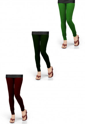 Combo of Solid Color Lycra Leggings in Green and Maroon