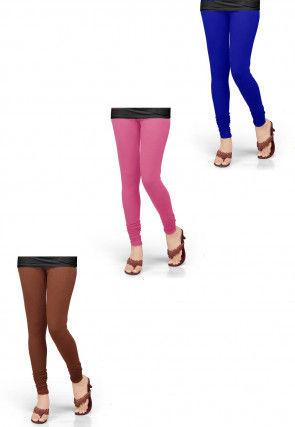 Combo of Solid Color Lycra Leggings in Multicolor